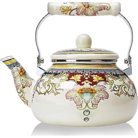 Vtg brown metal enamal ware  floral little girl front teapot
