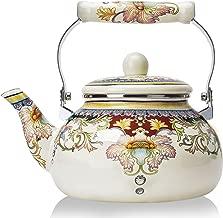 2.5 Quart Enamel on Steel Teapot Floral,Large Porcelain Enameled Teakettle,Colorful Hot Water Tea Kettle Pot for Stovetop,Small Retro Classic Design