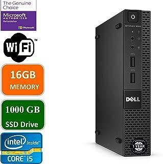 Dell Optiplex 9020 Ultra Small Tiny Desktop Micro Computer PC (Intel Core i5-4570T, 16GB Ram, 1000GB(1TB) Solid State SSD, WiFi, Bluetooth, HDMI Win 10 Pro (Renewed)