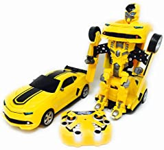 Quality verified Merchandise QVM Toy Transforming Car to Robot with USB Rechargeable Batteries and Lights and Realistic Engine Sounds Compare to Bumble B - Transform Remote Control