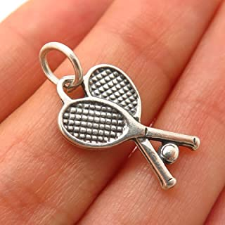 925 Sterling Silver Vintage Tennis Racquets & Ball Design Charm Pendant KD-2695