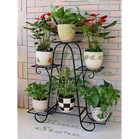 Dime Store Multi Tier Plant Stand Flower Pot Stand for Balcony Living Room Outdoor Indoor Plants Plant Holder Home Decor Item (6 Tier, Black)