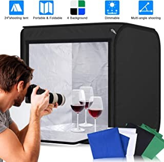 Abeststudio Photo Studio Tent Softbox Portable 60 * 60 * 60cm Dimmable Foldable Photography Studio 55W LED Cube Shooting Tent Soft Box with 4 Cotton Backdrops (Black,White,Blue,Green)