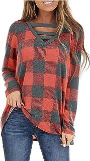 WMZCYXY Túnica de manga larga con cuello en V para mujer, estilo casual, lindo, para otoño