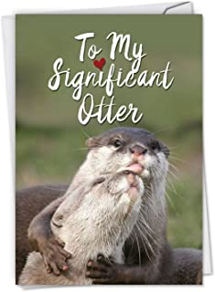 Significant Otters - Cute Happy Anniversary Card with Envelope (4.63 x 6.75 Inch) - Loving Sea Otter Cuddles, Wedding Anniversary Note Card for Wife, Husband - Congratulations Greeting Gift C5528ANG