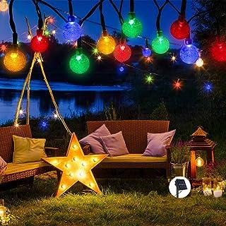 Ibello Guirnaldas Luces Exterior Solares, 30 LED Cadena de Luces Multicolor Impermeable 8 Modos de iluminación para Interiores y Exteriores Dormitorio, Navidad, Boda, Jardín, Fiesta