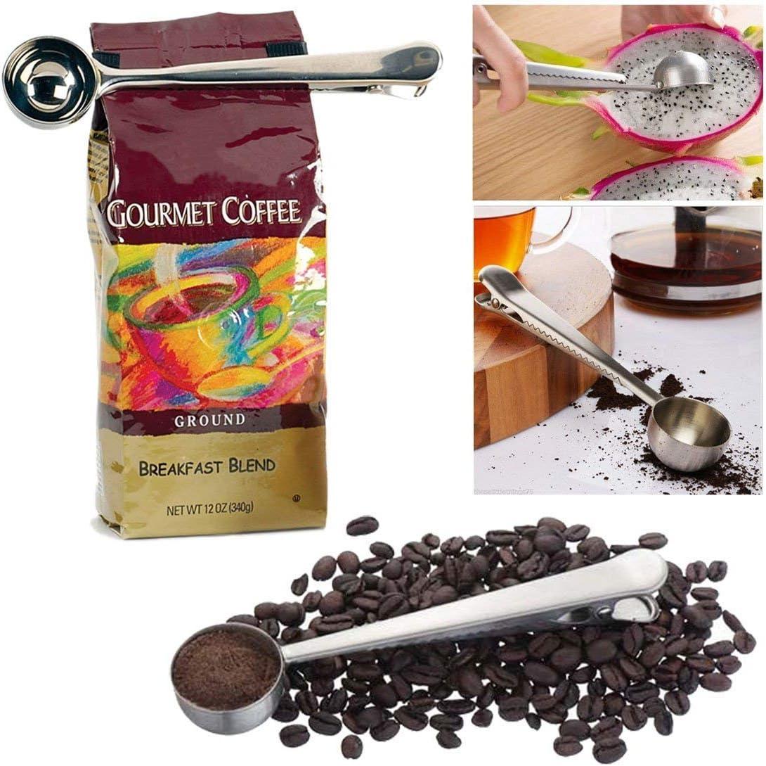 2 en 1 Suelo 1 taza cuchara de acero inoxidable cuchara medidora de caf/é con bolsa de sellado Clip para especias de polvo de fruta Ice Cream 2 PC JJOnlineStore
