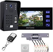 Video Deurbel, Vingerafdruk Wachtwoord Video Deurtelefoon Beveiliging Surveillance, Intercom, Nachtzicht Camera + 7 Inch M...