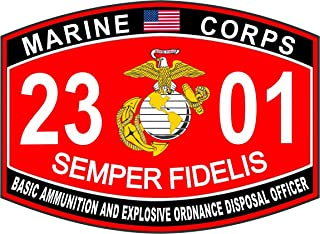 Marine Corps Military Basic Ammunition and EOD Officer MOS 2301 USMC US Marine Corps Window Car Bumper Sticker Vinyl Decal 3.8