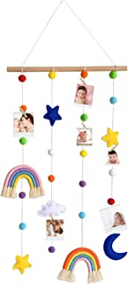 Hanging Photo Display with Pom Pom Rainbow Decoration Cute Wall Haing Picture Organizer Boho Home Decor Collage Picture Fr...
