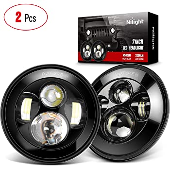 4 Fog Light - Accessories for Jeep Wrangler 1987-2018 Fog//Head Lights Built-In CAN Bus H4 Plug 7 Round CREE LED Headlights for Jeep Wrangler JK TJ LC CJ Hummer H1 H2