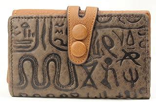 9ポケット 本革 レザーメンズ レディース 古代文明デザイン キーケース お札入れカードケース お札もカードも収納可能駐車券も入る