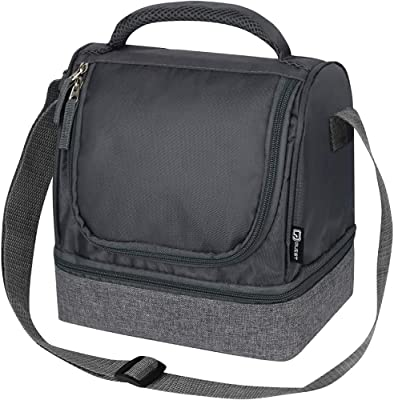 Quest Lunch Bag Women Men w/ Dual Compartment Zipper Closure, Adjustable Carry Strap and Carry Handle, Insulated PEVA Lining Waterproof, Easy Cleaning Food Storage Bag [Grey/Charcoal] - Primo Series