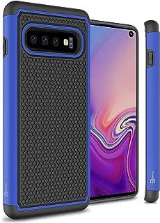 CoverON Heavy Duty Hybrid HexaGuard Series for Samsung Galaxy S10 Case, Blue on Black