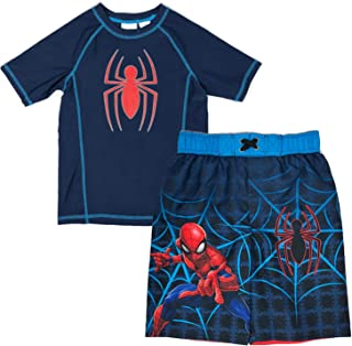 66d712acca Marvel Spiderman Swimsuit for Boys - Swim Trunks & Rash Guard Set UV  Protection/UPF