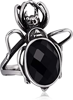 Stainless Steel Ring for Men Spider Hollow Ring Vintage Gothic Biker Punk Rock Ring