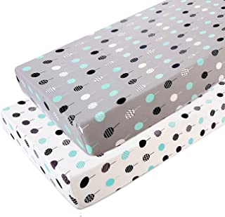 Stretchy Fitted Pack n Play Playard Sheet Set-Brolex 2 Pack Portable Mini Crib Sheets,Convertible Playard Mattress Cover,Ultra Soft Material,Lollipop Design