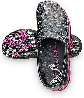 Smitten Women Patent Leather Clog Nursing Shoe-Zebra