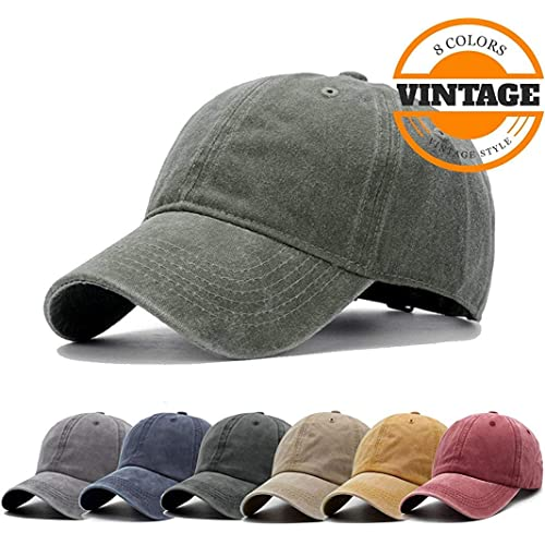 df9a71afc78 Unisex Vintage Washed Distressed Baseball-Cap Twill Adjustable Dad-Hat
