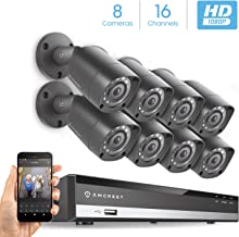 Amcrest 1080P 16CH Security Camera System w/ 1080P DVR, (8) x 2MP IP67 Weatherproof Metal Bullet Analog Cameras (1920x1080P), 3.6mm Angle Lens, Hard Drive Not Included, 16-Channel (AMDV108116-8B-B-2)