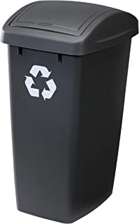 Rubbermaid Swing Top Lid Recycling Bin for Home, Kitchen, and Bathroom, 12.5 Gallon, Black with Recycling Logo
