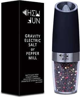 Electric Gravity Pepper Grinder or Salt Mill with Adjustable Coarseness Automatic Pepper Mill Grinder Battery Powered with Blue LED Light,One Hand Opetated,Brushed Stainless Steel by CHEW FUN