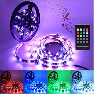 5V Music Sync RGB LED Strip + 20-Key Remote Controller, IP65 Waterproof 5050 SMD 30LEDs/m Colors Ribbon Rope Lights, Self-...