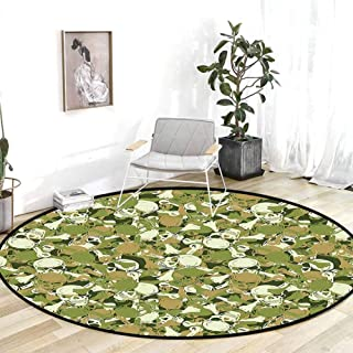 Outdoor Rugs for patios Camo Sketchy Skulls and Crossbones Warning Sign Spooky Scary Horror Tile Light Brown Green Light Green Carpet for Kids 4'Round