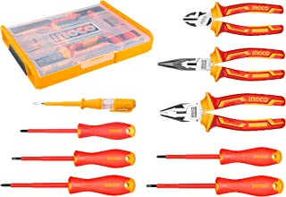 INGCO 9Pcs 1000V VDE Insulated Hand Tools Set with 5pcs Insulated Screwdriver and 3pcs Insulated Plier Set 1pcs Test Penci...