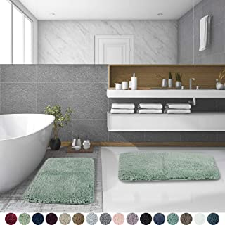 Walensee Shaggy 2 Piece Bath Rug Set, (20 x 32, 2 Pack Set, Pale Green) Bathroom Rug Set Bath Mats for Bathroom Machine Wash/Dry Absorbent Bathroom Mats Set Non Slip Plush Rug Set for Shower