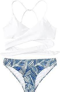 Women's Criss Cross Palm Tree Print Bikini Set
