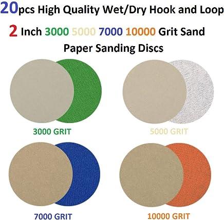 100Pcs 3inch Sanding Discs Pads Hook and Loop 80//100//180//240//600//800//1200//2000//3000 Grits Sanding Sheets Paper Assorted for Random Orbital Sander