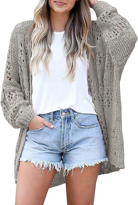RNTOP Cardigan Sweaters for Women Lightweight, Crochet Batwing Sleeve Loose Drape Outerwear, Cable Knit Hollow Outwear Coat