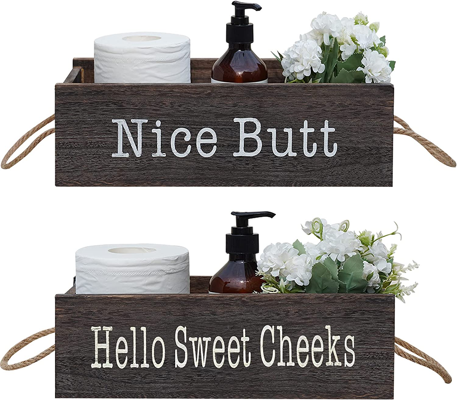 VICKERT Nice Butt Bathroom Decor Box, 2 Sides - Funny Gift, Funny Toilet Paper Holder Perfect for Farmhouse Bathroom Decor, Toilet Paper Storage, Diaper Organizer