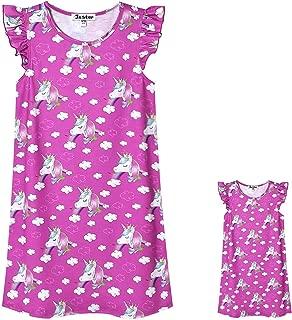 Jxstar Matching Girls&Doll Nightgowns Unicorn Pajamas Flutter Sleeve Night Dress