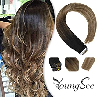 Youngsee 18inch Balayage Tape Ombre Hair Extensions 20pcs 50g Tape Hair Extensions Balayage Black to Light Brown with Ash Brown Remy Human Hair
