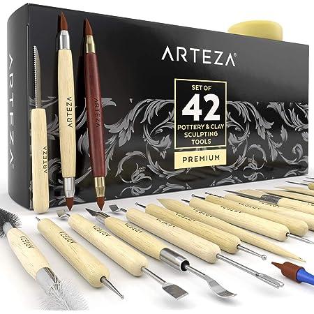 Outils de sculpture pour la poterie et la pâte polymère Arteza, set de 42 pièces, outils à pointe d'acier avec poignées en bois, pour le modelage, le lissage, la sculpture et la céramique