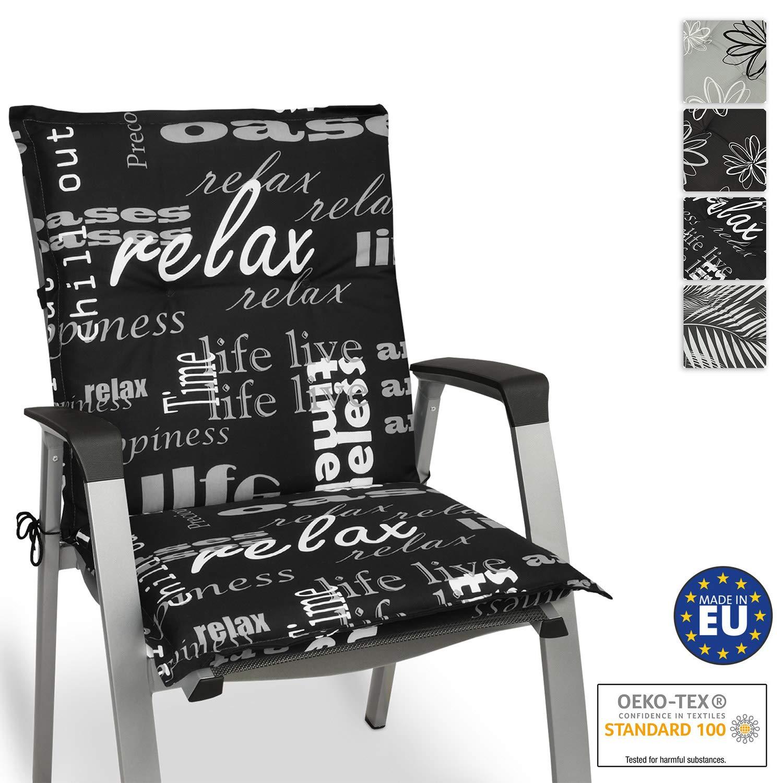 Beautissu Cojín para sillas de Exterior y jardín con Respaldo bajo Relax 100x50x6 cm tumbonas, mecedoras, Asientos cómodo Acolchado gomaespuma Resistente a Rayos UV: Amazon.es: Hogar
