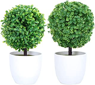 YMHPRIDE 2 Pack Artificial Boxwood Topiary Trees Faux Potted Tabletop Trees Fake Green Plant for Home and Office Desk Decorations
