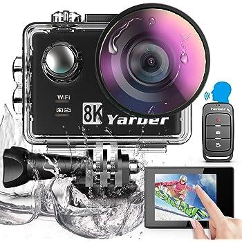 Yarber Action Cam, 8K 20MP Wi-Fi Impermeabile 40M Touch Screen EIS Comando Vocale con Telecomando Fotocamera Subacquea Digitale 8 Volte Zoom Hyper Stabilizzazione Videocamera