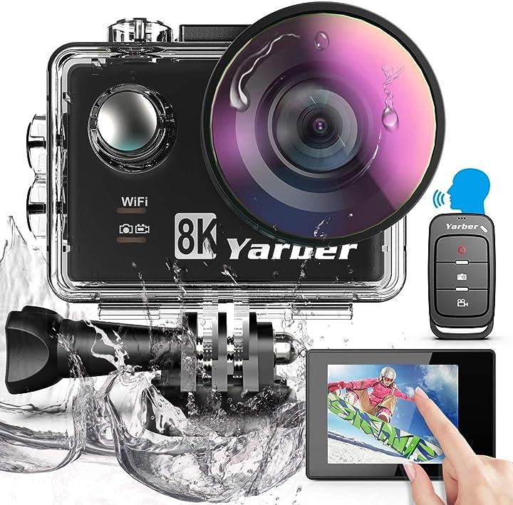 Fotocamera subacquea digitale 8 volte zoom hyper stabilizzazione videocamera yarber action cam 8k 20mp AR01