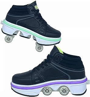 HANHJ Barn rullskor unisex multifunktion 2-i-1 infällbar dubbla hjul LED skateboardskor utomhussport träning rullskridskor...