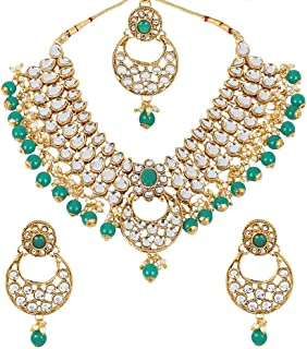 Indian Traditional Kundan Necklace Pearl & Colored Beads Bollywood Style Set