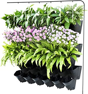 Homes Garden Self-Watering Vertical Garden Planter Indoor Outdoor Living Wall with Drip Irrigation Kit Black 12 Pack (36 Pockets) #G-G707A03-US