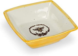 Abbott Collection 27-Crestwood Bee with Wreath Small Square Dish, 4 inches Sq, Ivory