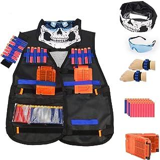 Kids Tactical Vest Kit for Nerf Guns N-Strike Elite Series, with 40 Pcs Refill Darts, 1 Reload Clips, Face Tube Mask, 1 Ha...