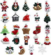 Naler Mini Christmas Ornaments, Resin Design with Santa Claus, Snowman, Reindeer and More Ornaments, Set of 24 Pieces
