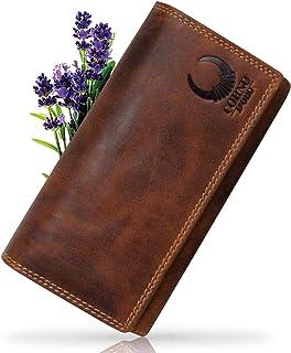Corno d'Oro Cartera de piel auténtica para mujer 16000L con protección RFID tarjetero vertical, billetera vintage marrón
