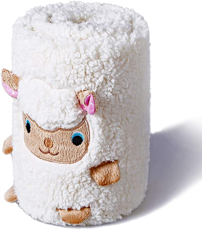 Little Grape Land Adorable 3 In 1 Plush Sherpa Nursery Toy Pillow Blanket Ideal Baby Gift For Infants Or Toddlers White Sheep