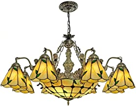 Pastoral Leaves Stained Glass Chandelier for Living Room, Tiffany Style Vintage Hanging Pendant Lamp for Bedroom Dining Ro...